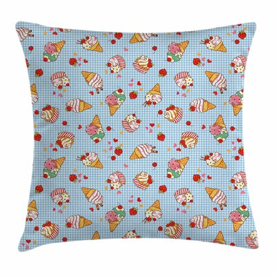 Ice Cream Sweet Cherries Square Pillow Cover Size: 20 x 20