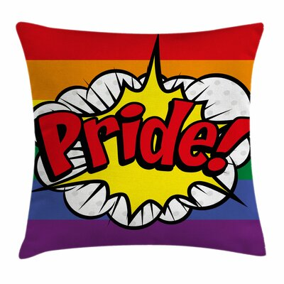 Rainbow Pop Art Comics Pride Square Pillow Cover Size: 16 x 16