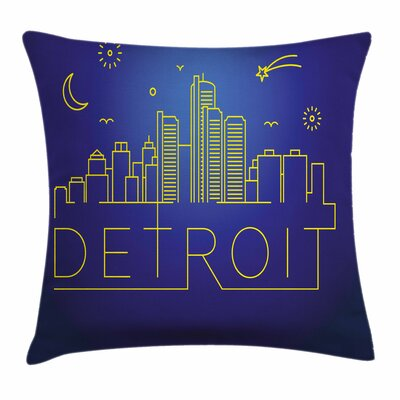 Detroit Decor City Sky View Square Pillow Cover Size: 16 x 16