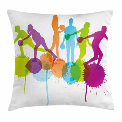 Bowling Party Player Throwing Square Pillow Cover Size: 24 x 24