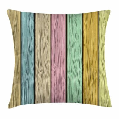 Pastel Wooden Planks Square Pillow Cover Size: 18 x 18
