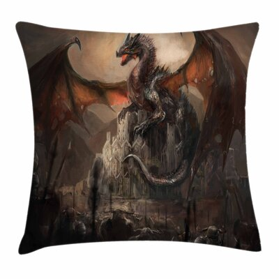 Dragon Medieval Fight Gothic Square Pillow Cover Size: 16 x 16