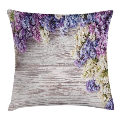 Rustic Lilac Flowers Bouquet Square Pillow Cover Size: 18 x 18
