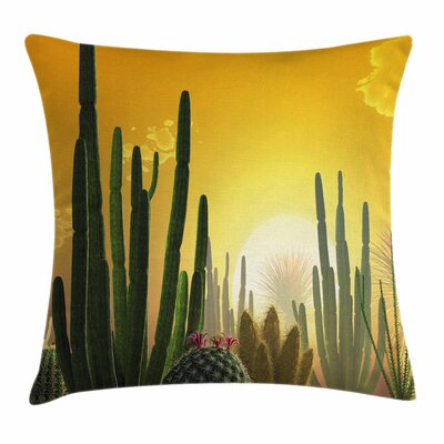 Cactus Sunset Desert Eco Square Pillow Cover Size: 16 x 16