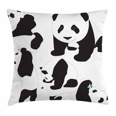 Zoo Baby Pandas Adorable Cute Square Pillow Cover Size: 24 x 24