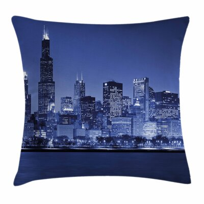 Chicago Skyline Night Square Pillow Cover Size: 20 x 20