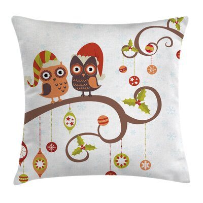 Christmas Noel Owls Folkloric Square Pillow Cover Size: 20 x 20