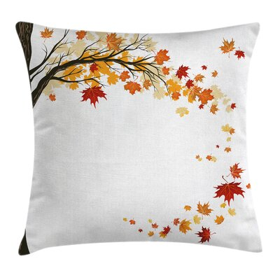 Fall Decor Flying Maple Leaves Square Pillow Cover Size: 16 x 16