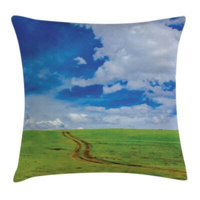 Nature Path in Meadow Rural Square Pillow Cover Size: 24 x 24