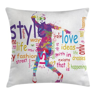 Girls Room Decor Stylish Woman Square Pillow Cover Size: 16 x 16