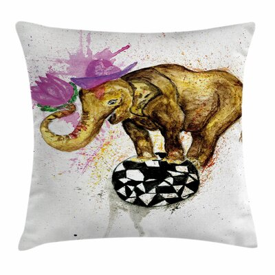 Elephant Giant Animal Flowers Square Pillow Cover Size: 24 x 24