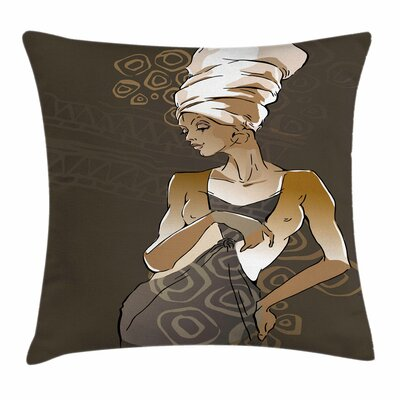 African Woman Ethnic Doodles Square Pillow Cover Size: 20 x 20