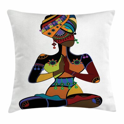 Yoga Ethnic Style Woman Figure Square Pillow Cover Size: 16 x 16
