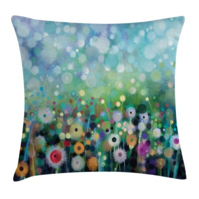 Floral Flying Dandelions Art Square Pillow Cover Size: 18 x 18