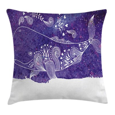 Whale Fish Floral Square Pillow Cover Size: 24 x 24