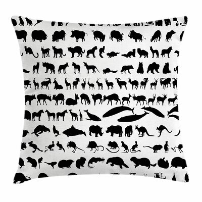 Zoo Animal Silhouettes Habitat Square Pillow Cover Size: 24 x 24