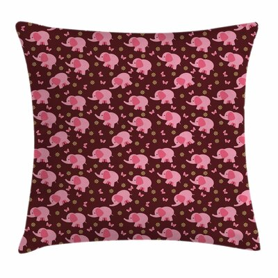 Elephant Sweet Flowers Square Pillow Cover Size: 16 x 16