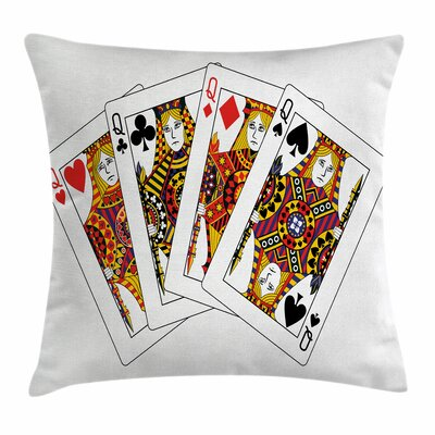 Casino Queens Poker Play Cards Square Pillow Cover Size: 16