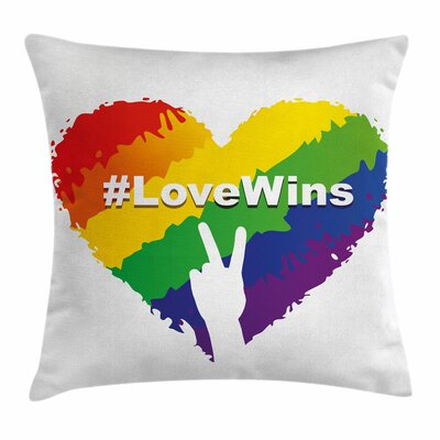 LGBT Colored Heart Square Pillow Cover Size: 16 x 16