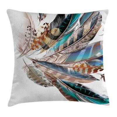 Animal Case Contour Feather Fashion Square Pillow Cover Size: 16 x 16