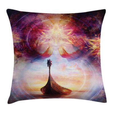 Viking Dragon Head Boat Violet Square Pillow Cover Size: 18 x 18