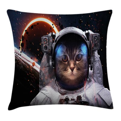 Space Cat Clusters Outer Space Square Pillow Cover Size: 16 x 16