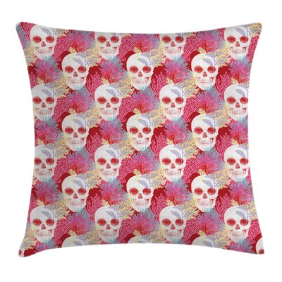 Art Skull and Corals Square Pillow Cover Size: 18 x 18