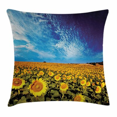 Floral Sunflower Garden Nature Square Pillow Cover Size: 24 x 24