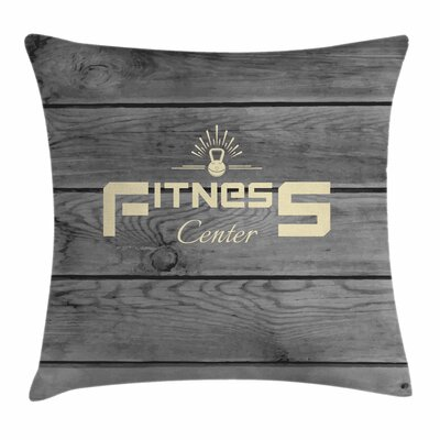 Fitness Club Badge Wood Planks Square Pillow Cover Size: 16 x 16
