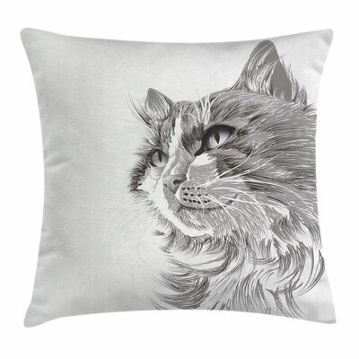 Animal Cat Portrait Cute Kitten Square Pillow Cover Size: 16 x 16