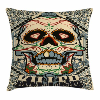 Sugar Skull Gothic Killer Frame Square Pillow Cover Size: 18