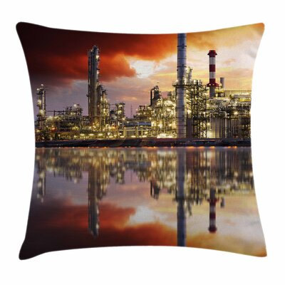 Oil Refinery Square Pillow Cover Size: 20 x 20