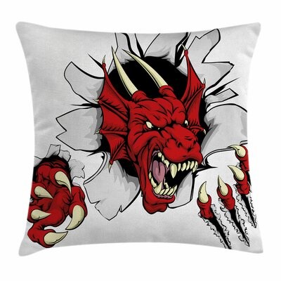 Dragon Retro Pop Art Caricature Square Pillow Cover Size: 16 x 16