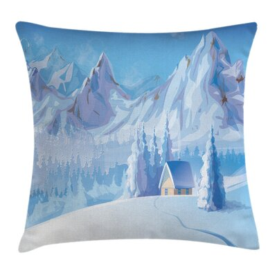 Little House Mountains Square Pillow Cover Size: 16 x 16