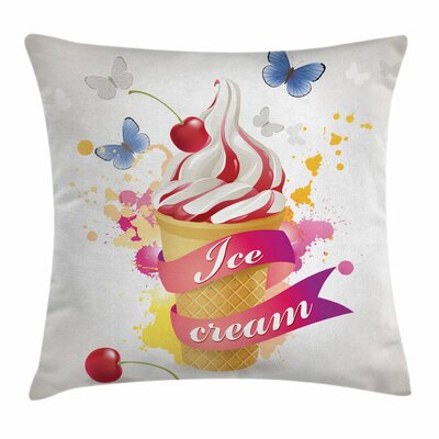 Ice Cream Cherries Colors Square Pillow Cover Size: 16 x 16