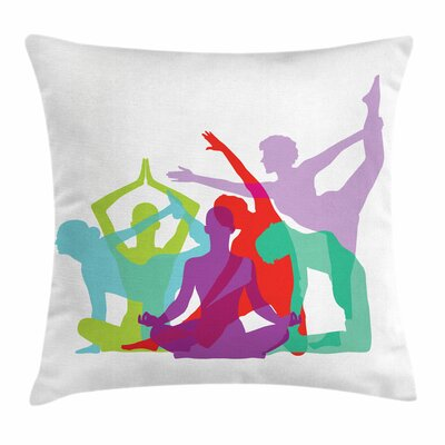 Yoga Poses Female Silhouettes Square Pillow Cover Size: 16 x 16