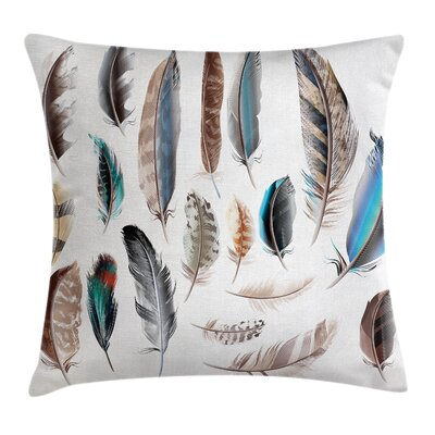 Animal Case Bird Body Feathers Set Square Pillow Cover Size: 24 x 24