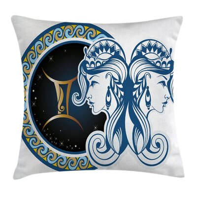 Zodiac Astrology Gemini Icon Square Pillow Cover Size: 16 x 16