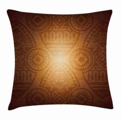 African Art Animals Flowers Square Pillow Cover Size: 16 x 16