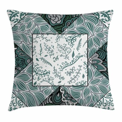 Boho Leaves Chevron Flower Mix Square Pillow Cover Size: 18 x 18