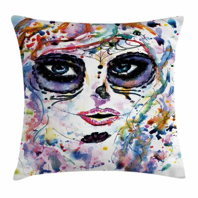 Creepy Makeup Girl Square Pillow Cover Size: 18 x 18