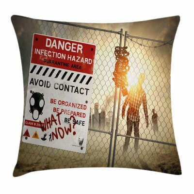 Zombie Decor Dead Man Walking Square Pillow Cover Size: 16 x 16