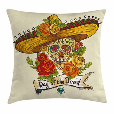 Sugar Skull Skull in Sombrero Square Pillow Cover Size: 20 x 20