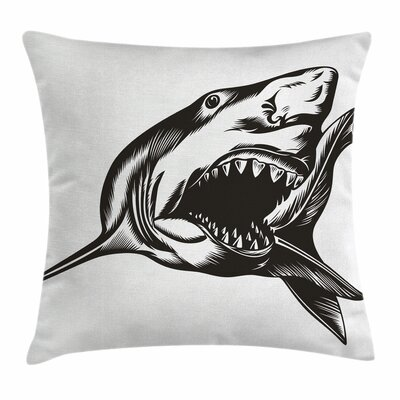 Shark Wild Fish with Open Mouth Square Pillow Cover Size: 20