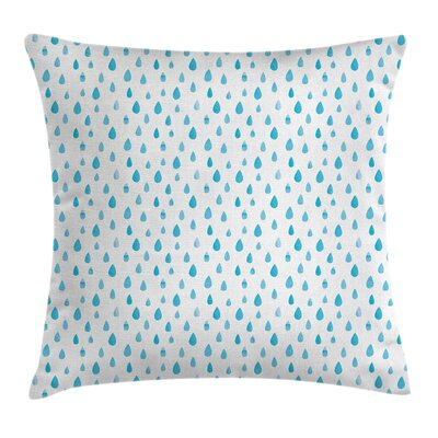 Watercolor Effect Rain Square Pillow Cover Size: 20 x 20