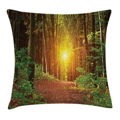 Forest Pathway to Timberland Square Pillow Cover Size: 24 x 24
