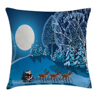Christmas Santa Winter Forest Square Pillow Cover Size: 24 x 24