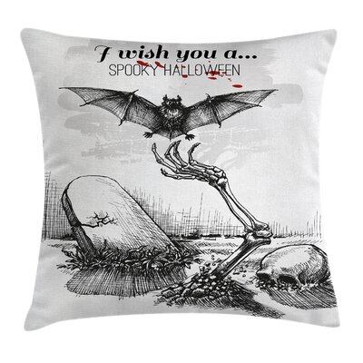 Halloween Decor Skull Zombie Square Pillow Cover Size: 24 x 24