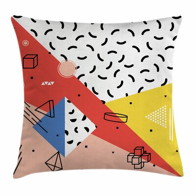 Modern Trippy Figures Square Pillow Cover Size: 16 x 16