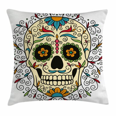 Sugar Skull Calavera Featured Square Pillow Cover Size: 18 x 18